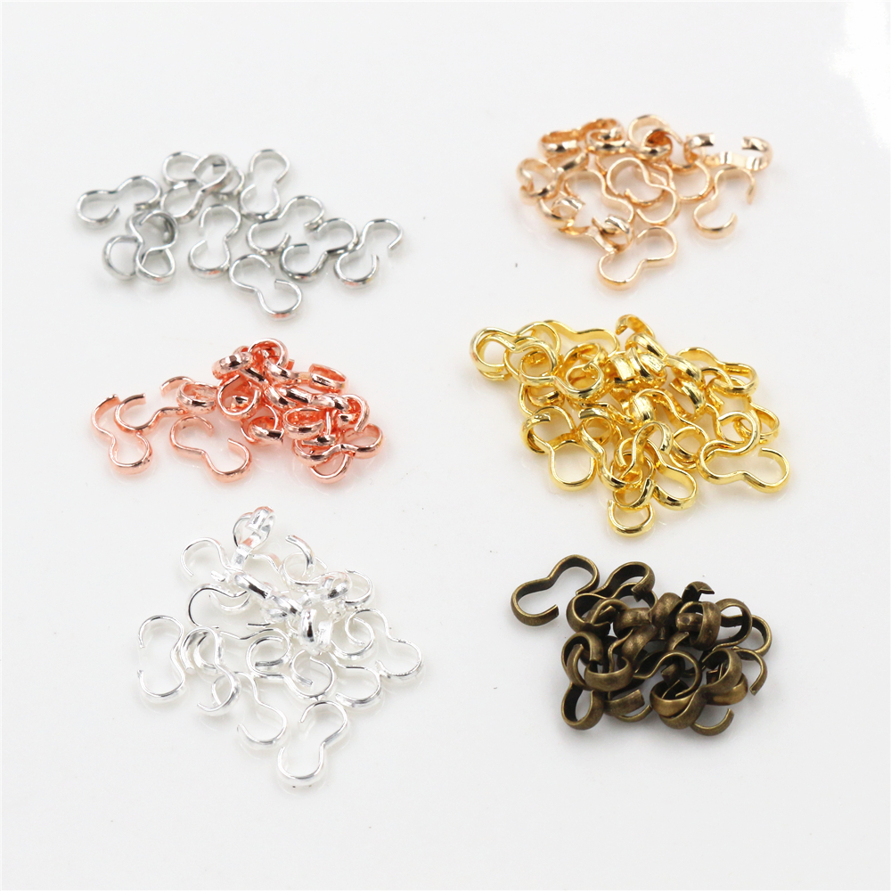 8x4 13x6.5mm 100pcs/lot  6 Colors Pendant Necklace Buckle Clasp Connectors Bangle Bracelet For Cameo Jewelry Accessories For DIY
