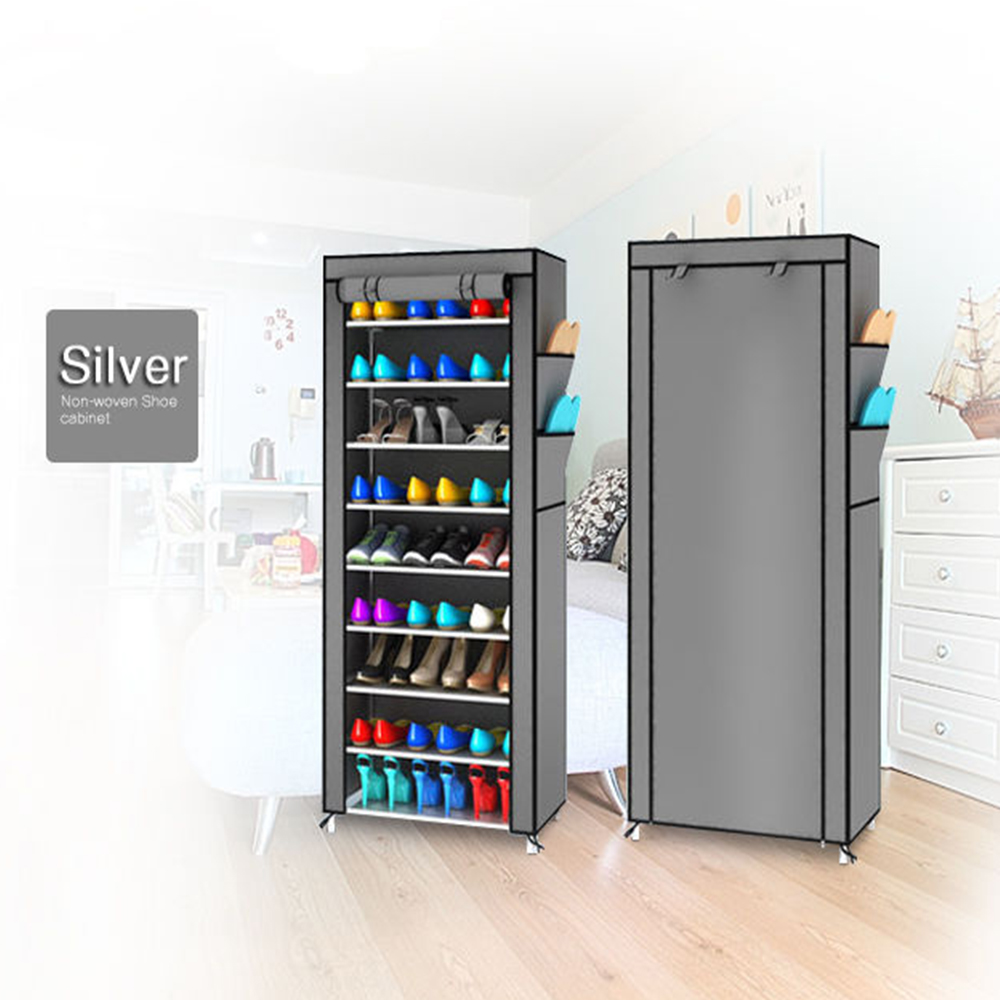 Chinese Ink and wash painting 10 layer 9 grid Shoe rack Non woven fabrics Shoe cabinet