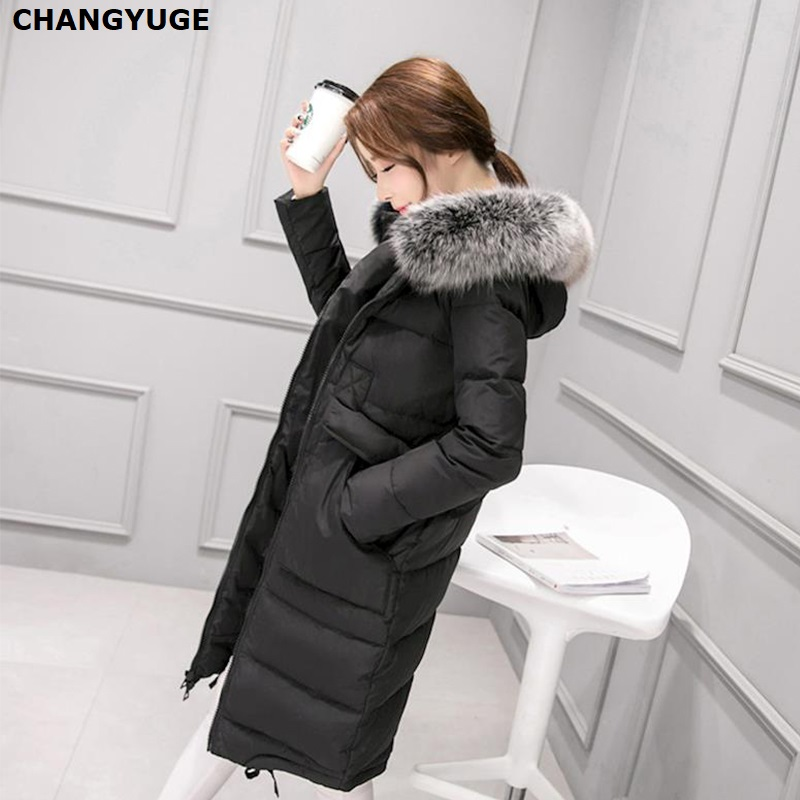 2018 New Fashion Long   Down   Jacket Warm Winter Duck   Down   Jacket Women   Down     Coat   Hooded Fur Collar Jacket Female Outwear