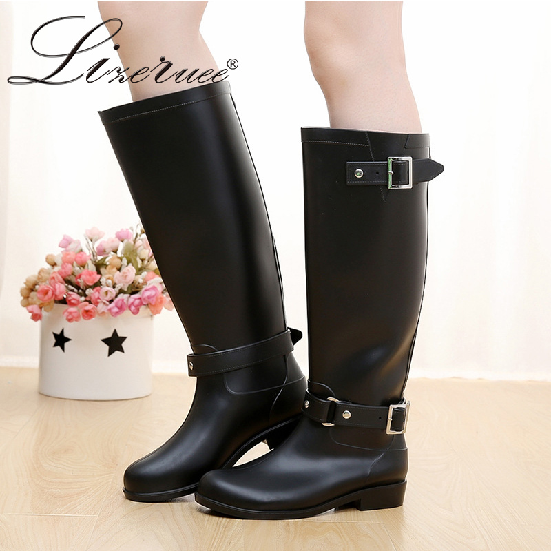 Lizeruee Women Rubber Rainboots Red Zipper Rain Shoes Round Toe Waterproof Motorcycle Boots Female Knee High