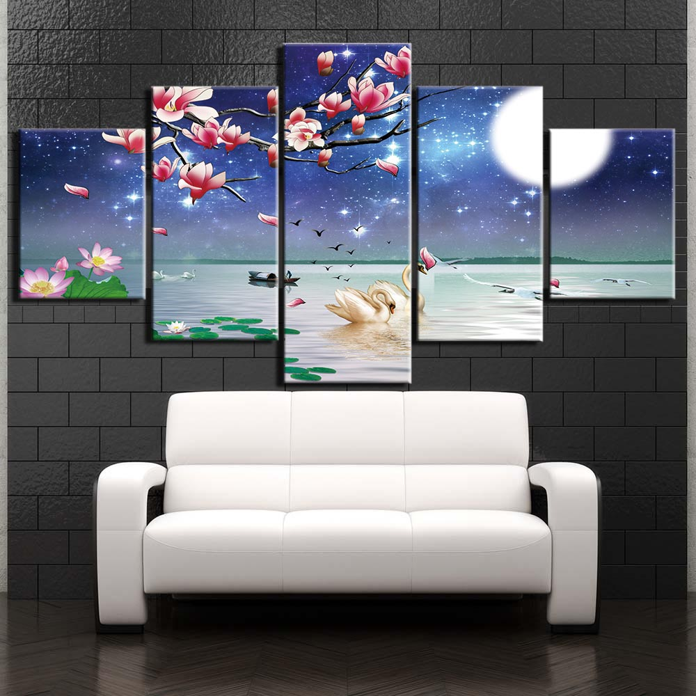 5 pieces Swan Lake moon Art Picture Home Decoration Canvas Print painting beautiful for living room F2707 in Painting Calligraphy from Home Garden