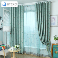 Modern Floral Print Curtains Bird And Piant Decoration Curtains For Living Room Drapes Insulated Blackout Curtains