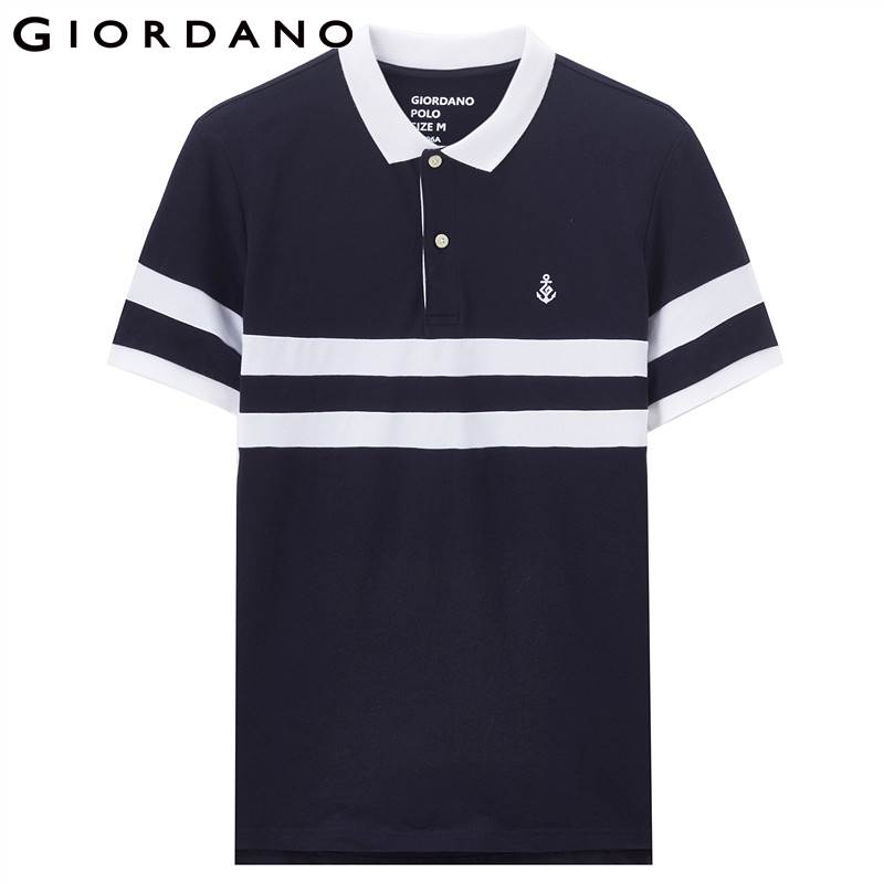 d33c636225b Aliexpress.com : Buy Giordano Men Polo Embroidery Color Blocking Polo Shirt  Men Short Sleeves Flat Collar Homme Clothing 2018 Fashion Outfit from  Reliable ...