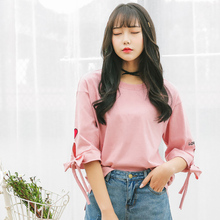 Korea Style Womens T-shirt Casual O-Neck Solid Hollow Out Tshirt Harajuku Sweet Heart Print Bow Half Sleeve T-Shirt