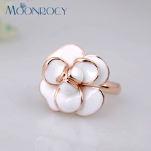MOONROCY Free Shipping Italina fashion crystal rings jewelry wholesale rose gold color white flower for women Party rings Gift(China)