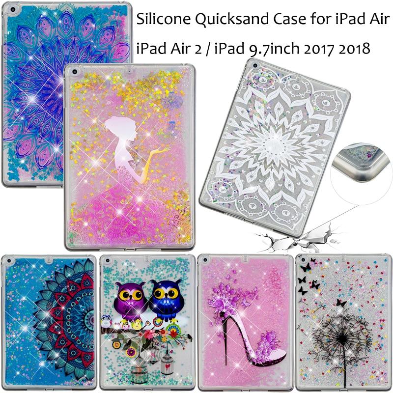"Fashion Glitter LiquidSand Quicksand Tablet Case Cover Coque Funda For iPad 5th 6th 8th Generation/iPad 9.7"" 2017 2018 Air 1 2"