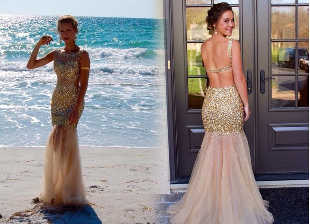Atractivo de la sirena 2016 nuevo Scoop granos del cristal Backless tren del barrido de Tulle partido invitado vestido de noche
