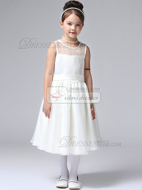 1dba3978ee16 Brought Tea-length Tulle Beading Semi Transparent Flower Girl Dresses