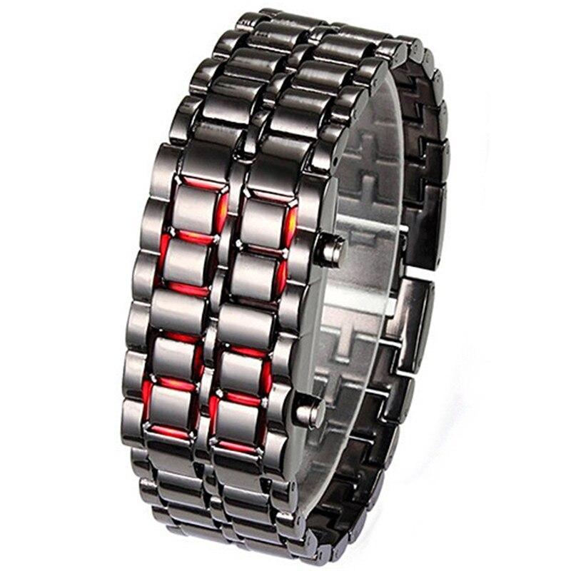 2015 New Stainless Steel Bracelet Watch Men Women Lava Iron Samurai Metal LED Faceless Wristwatch