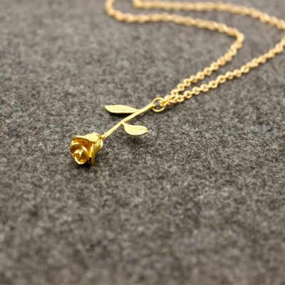 ファッション手作り合金赤ローズフラワーペンダントネックレス美容ゴールドシルバーメッキ魅力バレンタインギフトの女性の宝石ビジュー