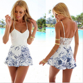 Новый женская Мода Лето Сексуальная Ремень Комбинезон Спинки Цветочные Печатный Пляж Стиль