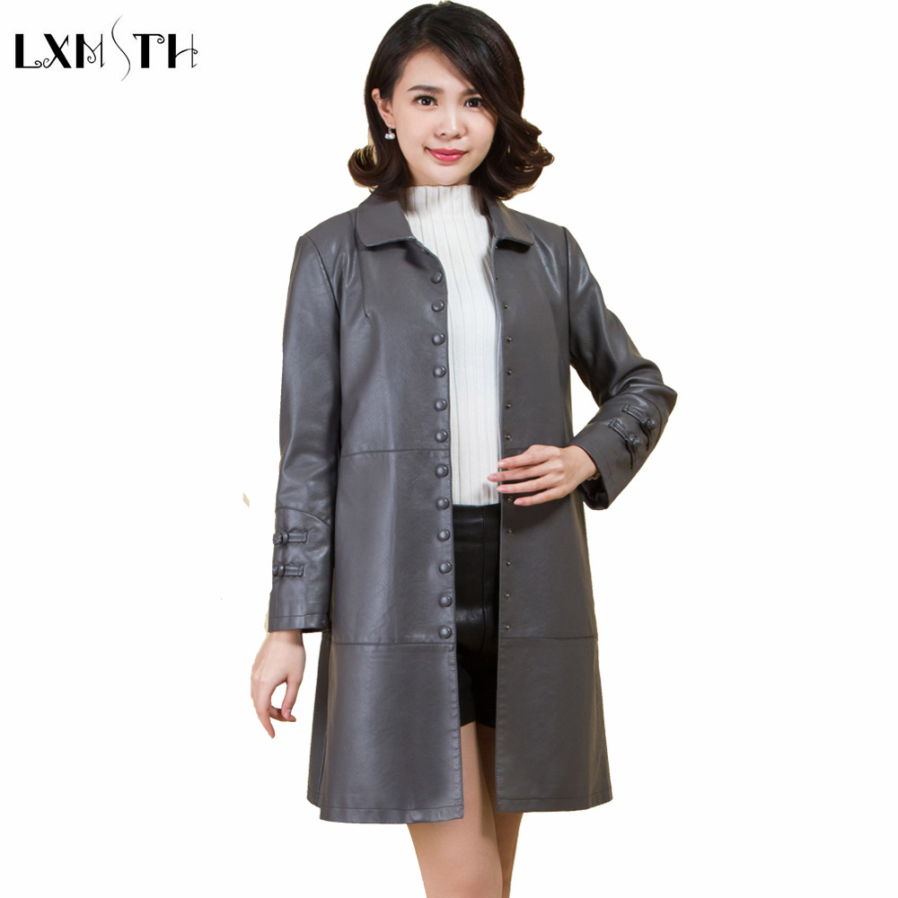 LXMSTH Long Faux   Leather   Coat For Woman 2019 Spring New Loose Womens   Leather   Coats And jackets Plus Size Trench Feminino XL-5XL