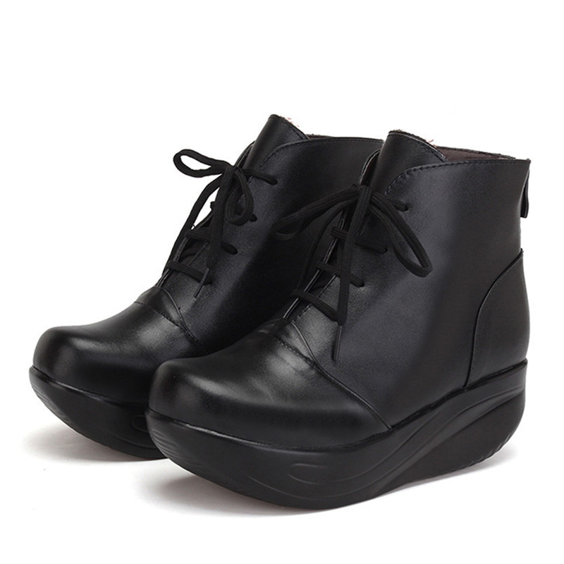 BEYARNE   Black Women Boots Lace Up Genuine Leather Winter Shoes Warm Wedges Platform Swing Shoes Big Size Short Boots-in Ankle Boots from Shoes    3