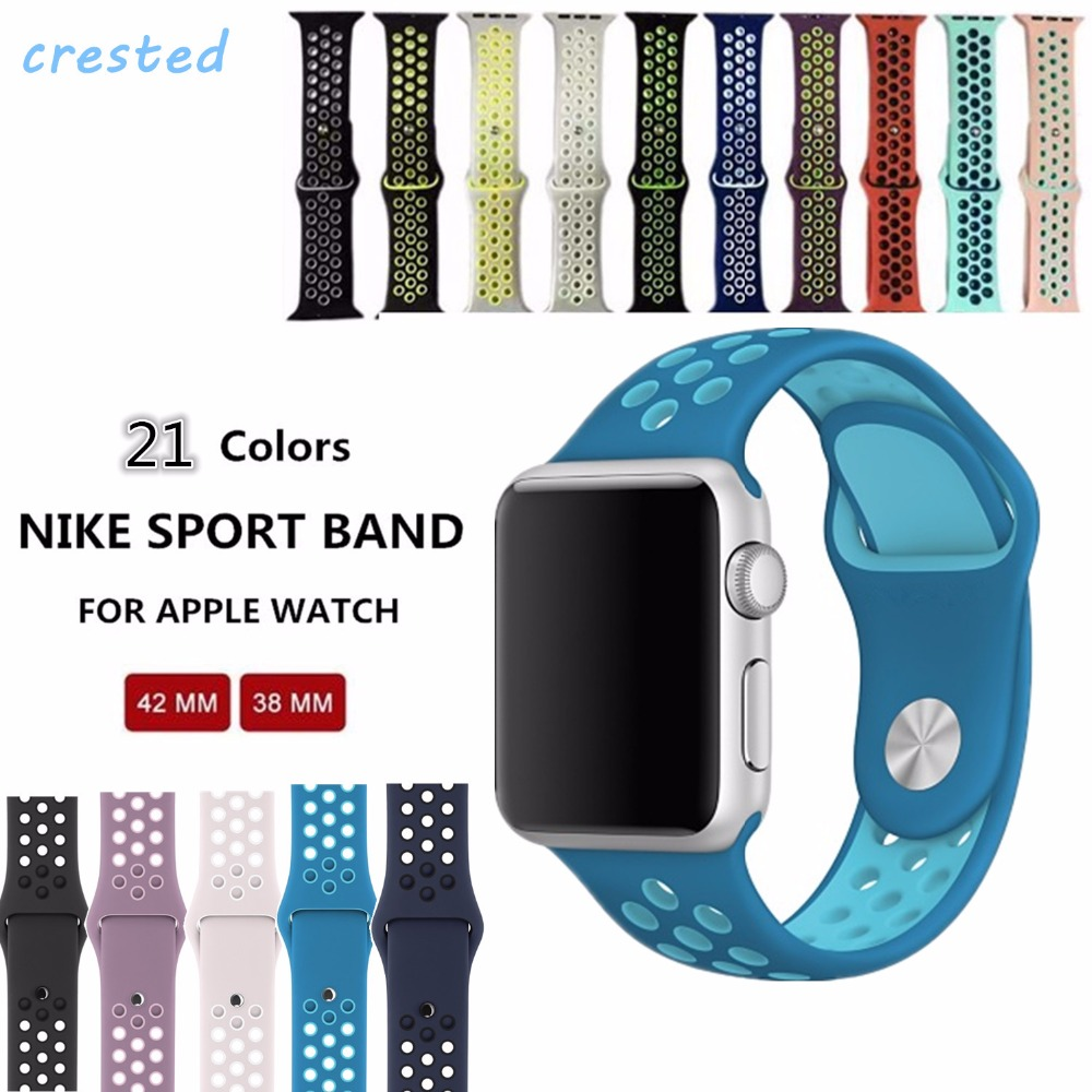 CRESTED sports Silicone strap for iwatch Series1 2 NIKE apple watch band 42mm men Rubber bracelet wrist With Adapter