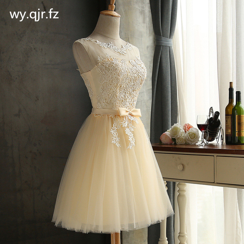 HJZY69X#Lace up Champagne grey red short   bridesmaid     dresses   wholesale cheap wedding party   dress   prom gown 2018 winter wholesale