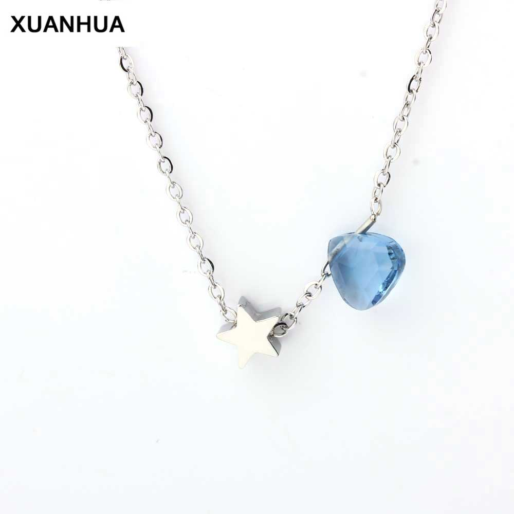 XUANHUA Stainless Steel Necklace Women Star Heart Pendant Jewelry Accessories Chain Jewellery Gifts For Women Fashion Jewelry