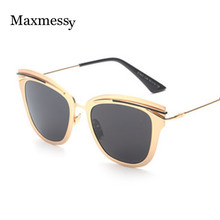 Maxmessy New Luxury Alloy Cat Eye Sunglasses Women Men Brand Designer Eyewear Sun Glasses oculos de sol masculino