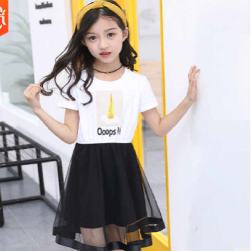 Girls Dress Clothing Set 2019 New Summer and Spring Kids Clothes Sets Children Suits White T Shirt Black Dress Size110-160 ly159Girls Dress Clothing Set 2019 New Summer and Spring Kids Clothes Sets Children Suits White T Shirt Black Dress Size110-160 ly159