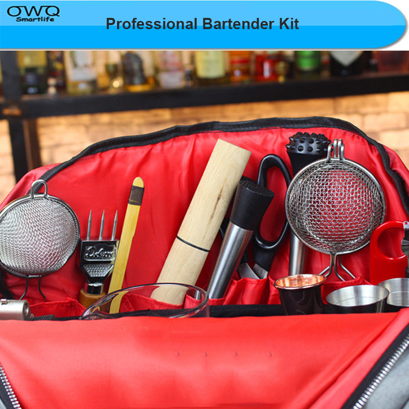 New Arrival Bartender Kit Leather Bag Wine Tool Set Combination Diagonal Toolkit Appliance Package Professional Bartender Kit 14pcs the key with combination ratchet wrench auto repair set of hand tool kit spanners a set of keys herramientas de mano