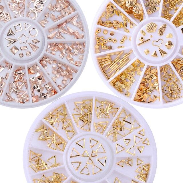 Rosa de Ouro Rivet Studs Prego 3D Decoração Da Arte Do Prego de Ouro Cinzento Estrela círculo Quadrado Redondo Triângulo Acessórios Misturados em Roda para DIY