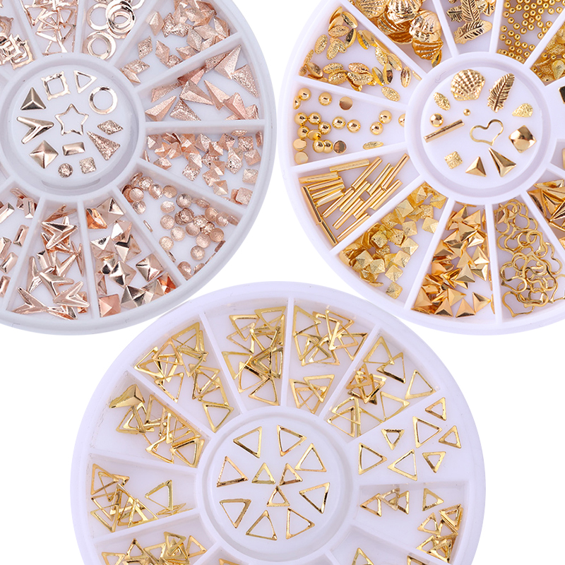 Rose Gold Rivet Nail Studs 3D Nail Art Decoration Grey Gold Circle Star Round Square Triangle Mixed Accessories in Wheel for DIY 12 boxes gold rivet nail studs round star heart triangle oval rhinestone manicure nail art decoration