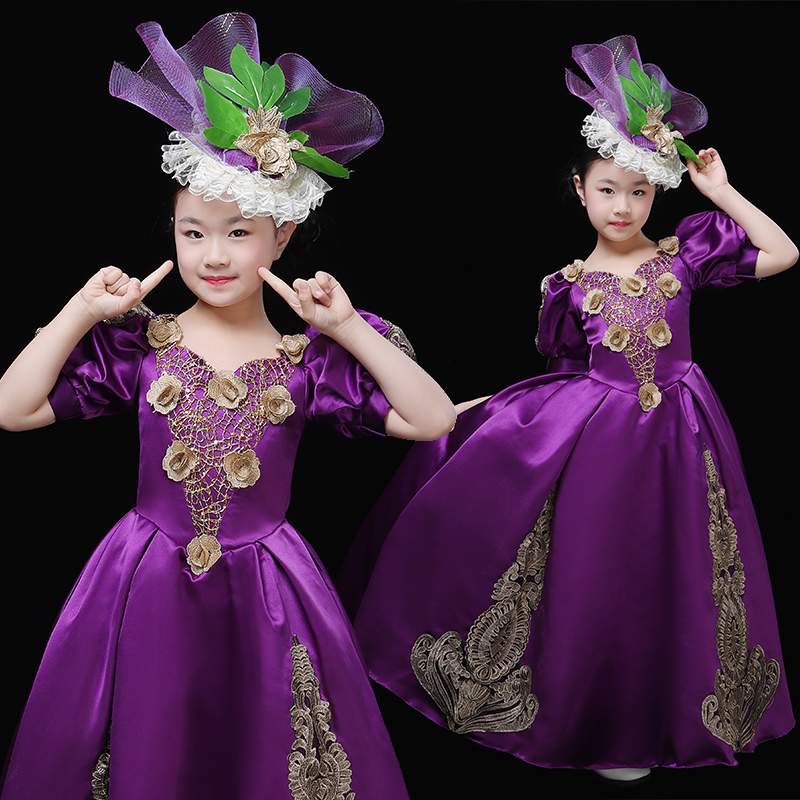 Gothic purple Victorian Steampunk Lolita Gril's Dress Rococo Dress
