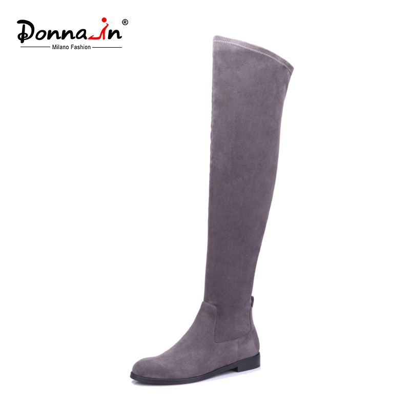 Donna-in 2018 elastic microfiber thigh high boots above knee women boots leggy long booties round toe flat outsole ladies shoes