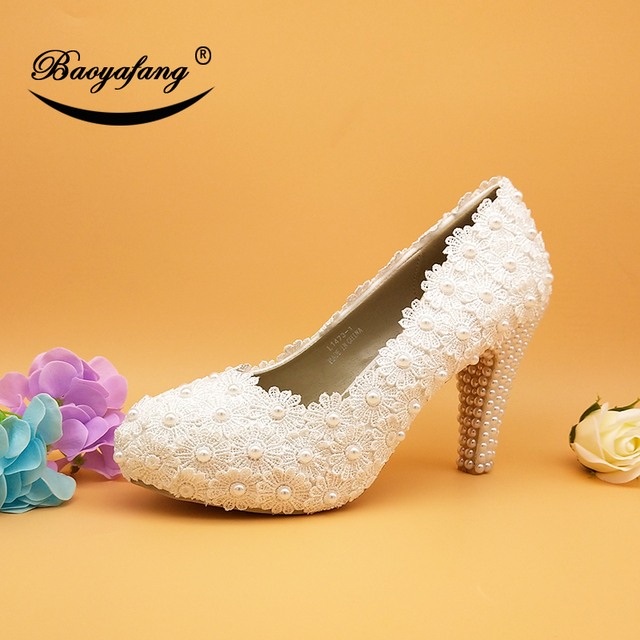 BaoYaFang New Arrival Lace wedding shoes 10cm big size 36-41 Bridal party dress shoes Woman High shoes free shipping 1