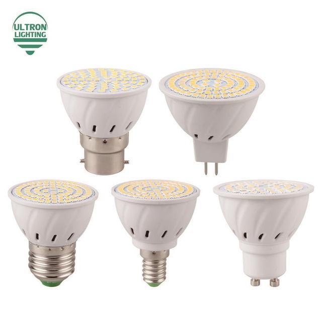 E27 MR16 GU10 B22 E14 Лампада СВЕТОДИОДНАЯ Лампа 110 В 220 В Bombillas СВЕТОДИОДНЫЕ Лампы Spotlight 48 60 80 LED 2835 SMD освещение