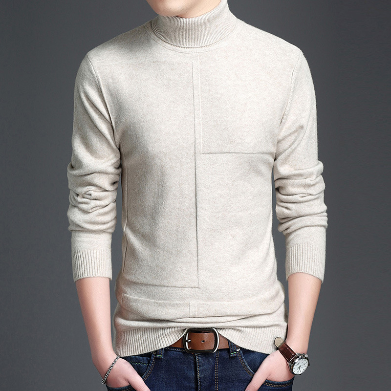 MRMT 2020 Brand Winter Men's Sweater Thick Solid Color High Collar For Male Sweater Tops Knit Bottoming Shirt