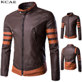New 2016 Men's PU Leather Jacket brown Leather Jackets Zipper PU Leather Jackets Men Plus Size M-4XL,5XL