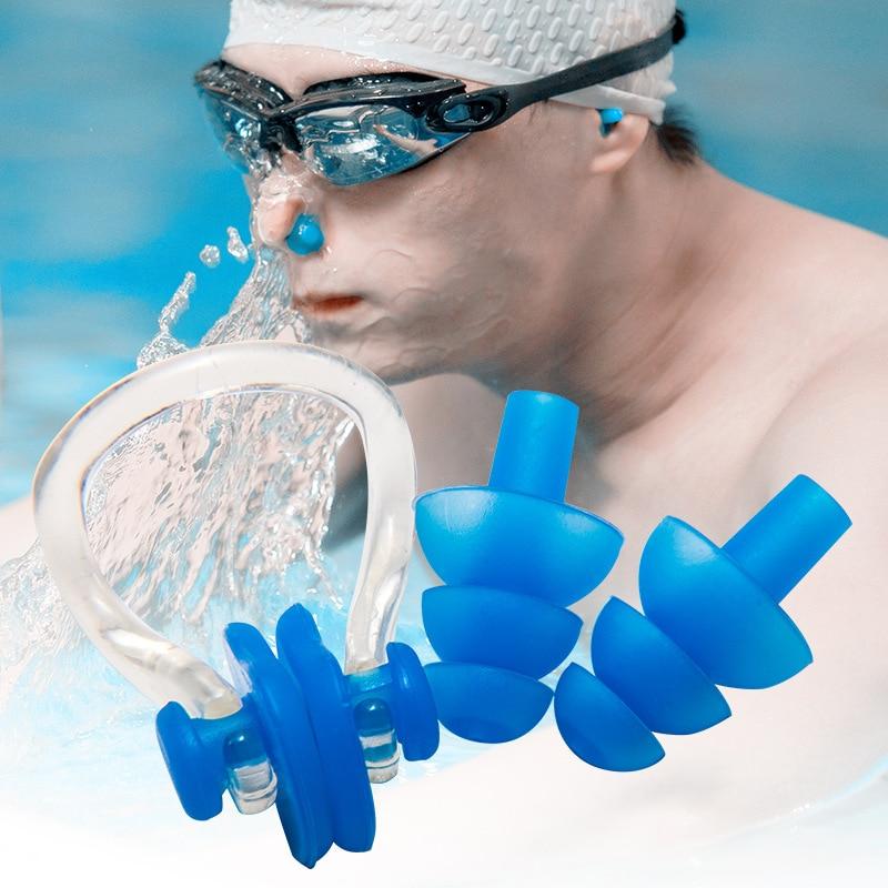 silicone ear plugs swimming Set Soft Nose Clip + Ear Plug Earplug Tool waterproof swimming earplugs nose clip