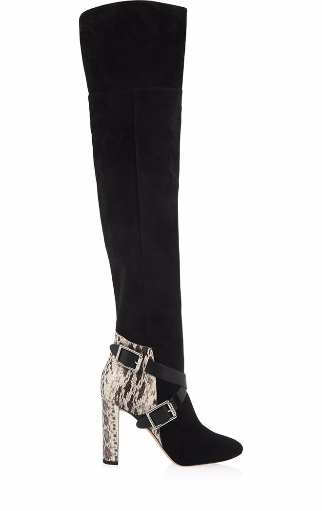 women winter shoes Snake mixed colors high heels knee high boots Thick high heel boots cross-tied over the knee boots newest mixed colors fashion women boots autumn and winter thick heels knight boots stretch knee high shoes zapatos mujer botas