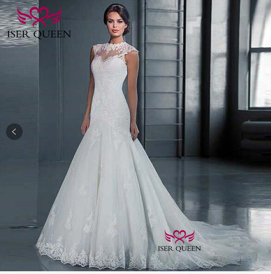 Sleeveless Illusion Back  Lace Mermaid Wedding Dresses Vestidos De Novia 2019 Plus Size Wedding Dress Wedding Gown W0489