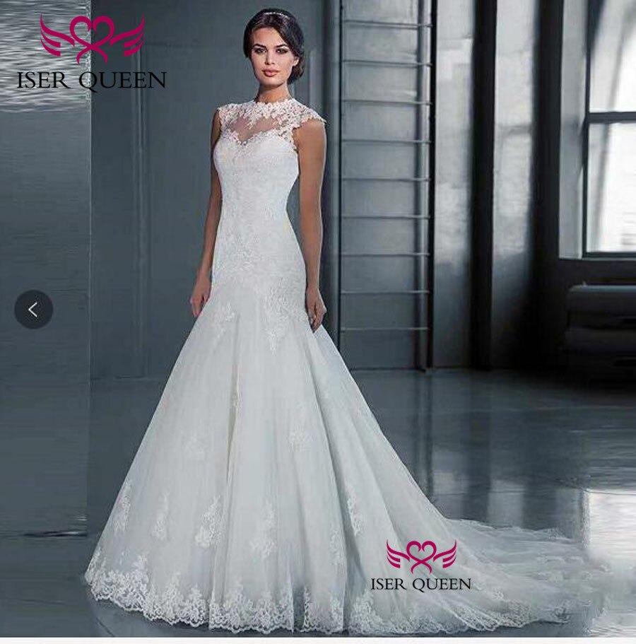 Sleeveless Illusion Back  Lace Mermaid Wedding Dresses Vestidos De Novia Plus Size Wedding Dress Wedding Gown W0489