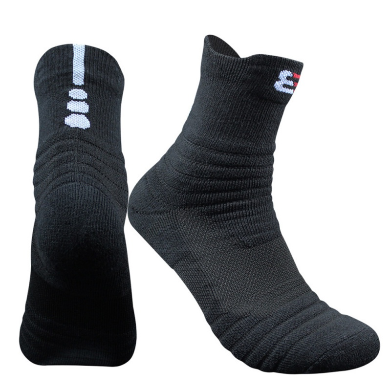 1 Pair Men's Cotton Outdoor Sports Socks Hiking Running Cycling Basketball Towel Bottom Winter Socks Comfortable Footwear