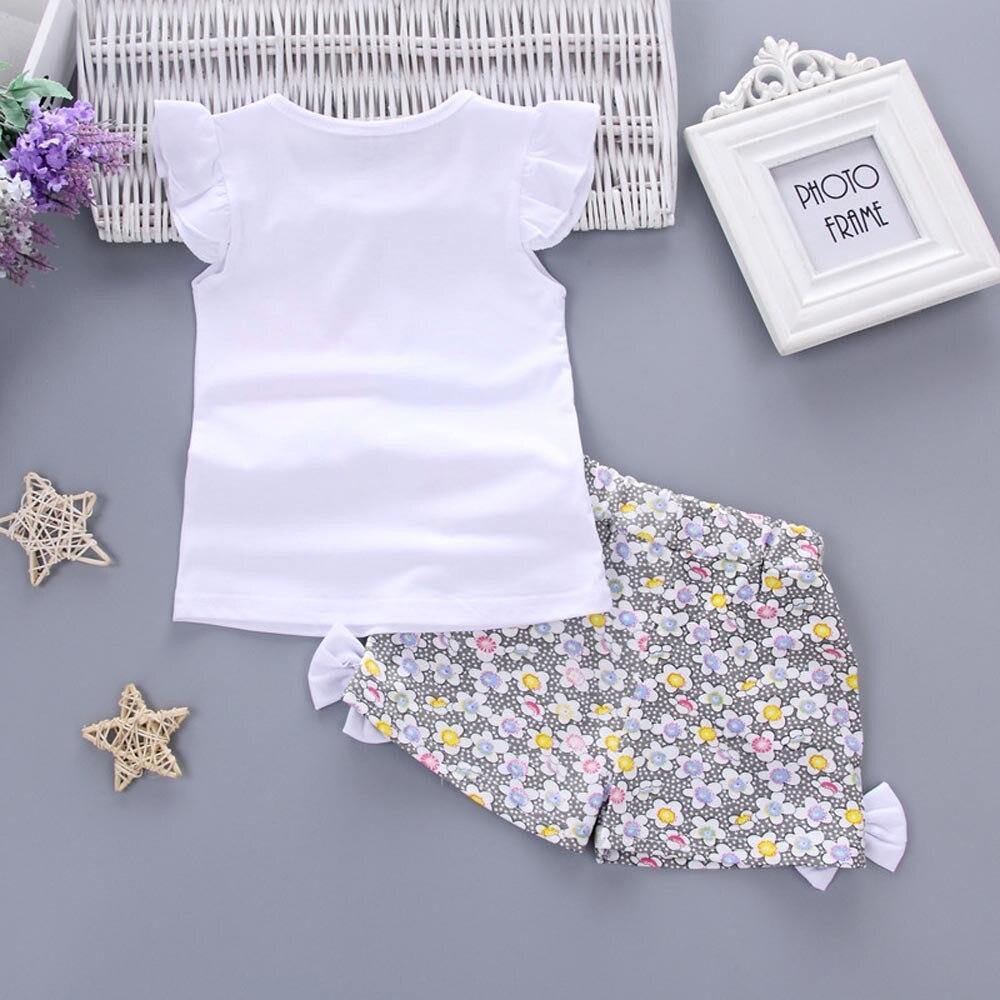 2 шт. одежда для маленьких девочек Лолли футболка Топы + короткие штаны комплект одежды 6 октября