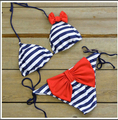 2017 Summer Sexy Swimsuit Bandage Padded 2 Piece Set Women Beach Push Up Bikinis Set Bow Bikini Brazilian Stripe Swimwear Pool