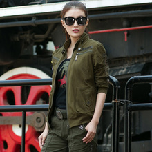 The spring and autumn period the new cardigan long-sleeved T-shirt  fleece single women in Army