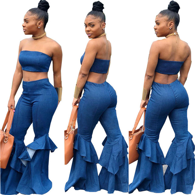 1c4c651ec71 Denim Two Piece Set Summer Strapless Crop Top and Bell Bottom Jeans Flare Pant  Suit Matching Sets Outfits Sexy 2 Piece Set Women