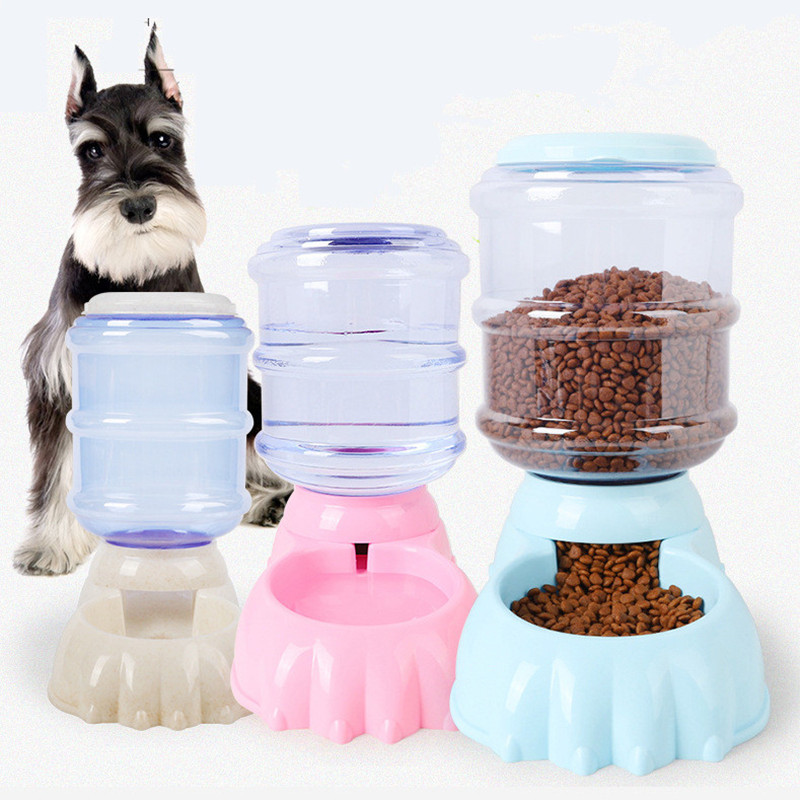 Pet Automatic Feeders Drinking Water Device puppy Cat Dog Bowl 3.5L large capacity Grain storage barrel Food dish Pet Supplies image