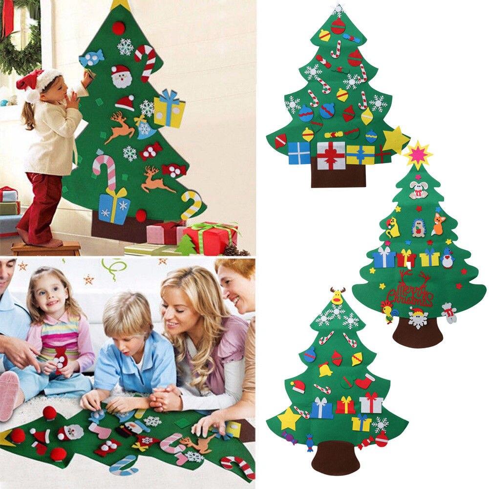 Kids Felt Christmas Tree with Ornaments Xmas Gift DIY Door Wall ...