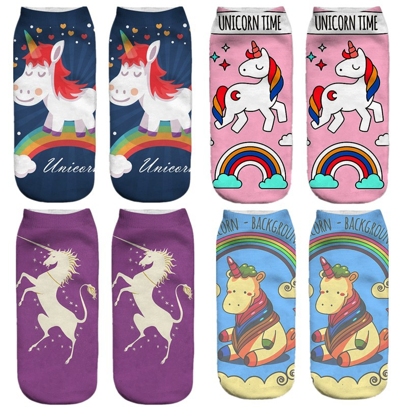 emoji unicorn funny socks Hot Sale 3d Printed womens socks low cut ankle short spaort socks