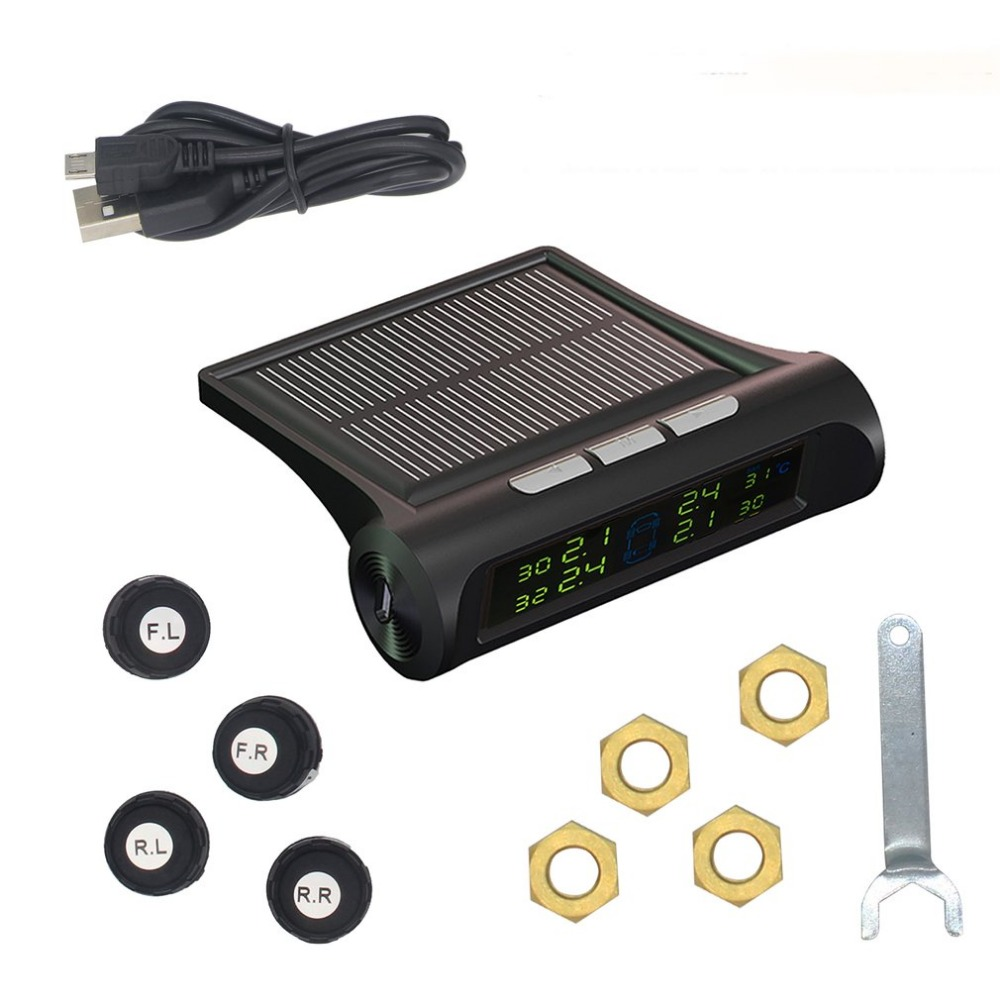New Solar Powered font b TPMS b font Tire Pressure Monitoring System Real time Detection Alarm