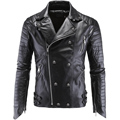 Black Leather Jacket Men Jaqueta De Couro Masculina PU Mens Leather Jackets Skull Punk Veste Cuir Homme Turn-down Collar