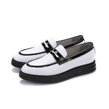 Мода черный/Белый платформа летние мокасины мужская обувь лакированная кожа уличной обуви мужская повседневная обувь