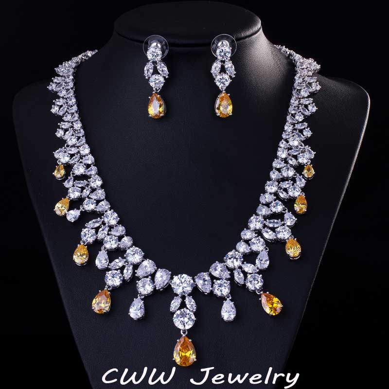 CWWZircons Top Quality Big Water Drop African Cubic Zirconia Beads Necklace Women Wedding And Engagement Jewelry