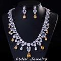 Роскошный большой капли воды африканский CZ алмаз бусины ожерелье женщины свадьба и обручальное комплектов ювелирных изделий с белым позолоченными T195