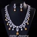 Grande de lujo africano Water Drop perlas diamante CZ collar de la mujer de la boda y conjuntos de joyas de compromiso con chapado en oro blanco T195