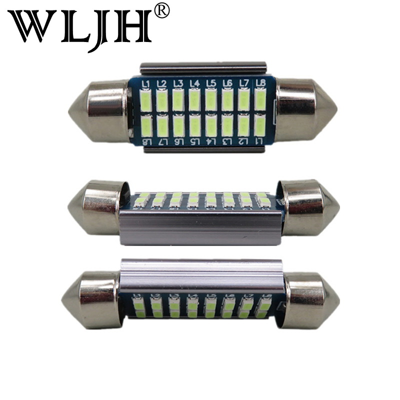 WLJH 2pcs LED 36mm C5W Lamp Bulb CANBUS Registration Number Plate License Light For A2 A3 8L 8P A4 B5 B6 A6 4B 4F A8 D2 TT Q7 cawanerl car canbus led package kit 2835 smd white interior dome map cargo license plate light for audi tt tts 8j 2007 2012